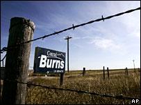 Campaign sign for Conrad Burns