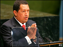 Venezuelan President Hugo Chavez at UN General Assembly, Sept 2006