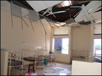 Blast damage at the hospital - picture supplied by Tamil Tigers