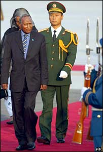 Somali President Abdullahi Yusuf Ahmed inspects the Chinese guard of honour after his arrival to Beijing