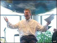 Rev Ted Haggard speaks at the World Prayer Center on the New Life campus in Colorado Springs. Photo: 2002
