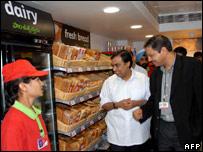 Reliance chairman Mukesh Ambani at a new food store