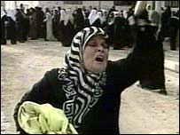 Woman shouting near mosque
