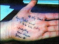 The killer's description on an officer's hand