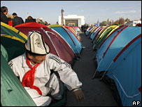 Protesters in tents in Bishkek