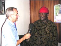 Bill Law speaks to Prince Johnson