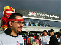 An NFL fan outside Mexico City's Aztec Stadium