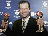 Ricky Ponting with the overall and Test player of the year awards
