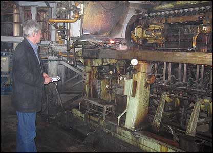 Panorama reporter Steve Bradshaw at the ISKRA glass factory, Lvov, western Ukraine