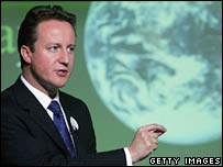 David Cameron with planet picture. Image: Getty