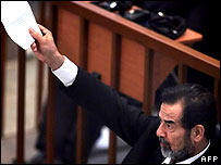 Saddam Hussein in court on 31 October