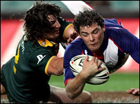 Paul Wellens scores a first-half try with Nathan Hindmarsh attempting a tackle