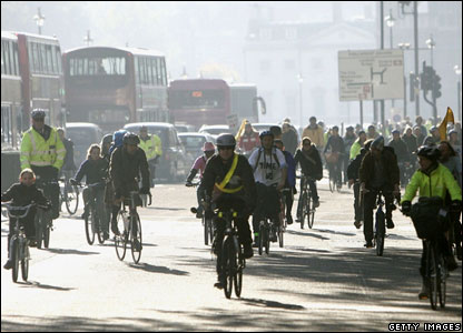 Cyclists on rally