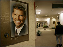 A portrait of Ted Haggard hanging at the New Life Church campus in Colorado