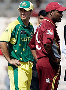 Australia captain Ricky Ponting (left) and West Indies skipper Brian Lara