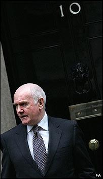 John Reid outside the door to 10 Downing Street