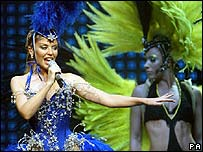 Kylie Minogue during her Showgirl Tour in Glasgow in March 2005