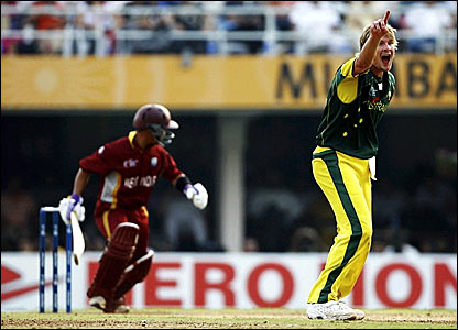 Shane Watson successfully appeals for the wicket of Carlton Baugh lbw
