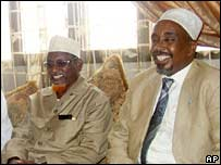 UIC chief Sheikh Hassan Dahir Aweys (left) and parliamentary speaker Sharif Hassan Sheikh Adan in Mogadishu