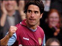 Juan Pablo Angel celebrates Aston Villa's second goal