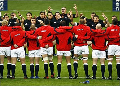 England players (foreground) face up the traditional New Zealand pre-match Haka