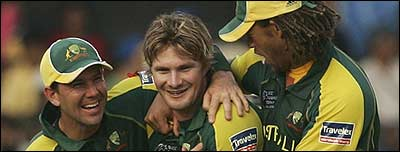 Australia's Shane Watson takes a wicket in the final