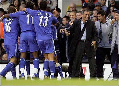 Chelsea celebrate the opening goal