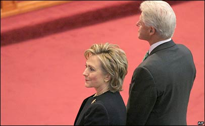 Hillary and Bill Clinton attend AME Church in Queens, New York on 5 Nov.