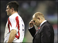 England's captain Martin Corry and coach Andy Robinson after the record defeat by the All Blacks