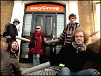 Protesters outside Easygroup offices