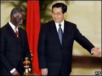Chinese President Hu Jintao, right, and South African President Thabo Mbeki