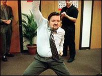 Ricky Gervais dancing as David Brent