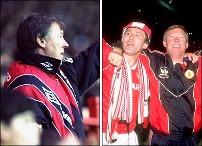 Alex Ferguson on the Old Trafford touchline and celebrating FA Cup victory with his captain Bryan Robson