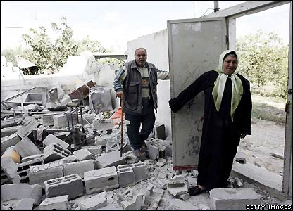 Destroyed Palestinian home in Gaza Strip