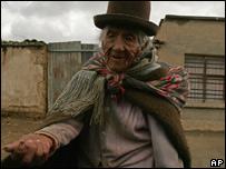 Mujer indigente en Bolivia