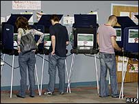 Voters cast their ballots on electronic machines at an early voting location in Miami, Florida (27 October)