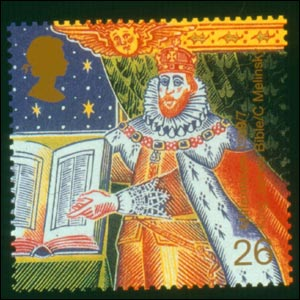 King James I and Bible from 1999's Christmas stamps (Image: Royal Mail)