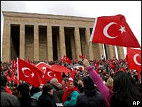 Pro-secular, nationalist Turks wave national flags