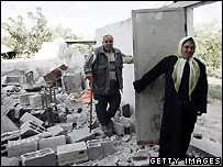 Destroyed Palestinian home