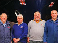 St David's lifeboat manager Jeffrey Rees with Ronald, Byron and John Bateman