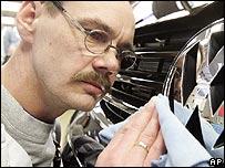 Worker in Volkswagen factory