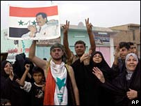 Sunnis protest against Saddam's sentence in Tikrit