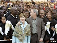 Laura and George W Bush with University of Arkansas Pine Bluff marching band