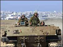 Israeli military vehicle in Gaza