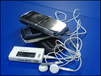 Mobile phones and an MP3 player