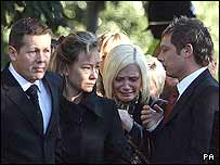 The mother's husband Paul Wood; the children's mother Sharon Wood; the father's girlfriend Ruth Beatson; and the children's father Neil Shepherd, arrive for the funerals