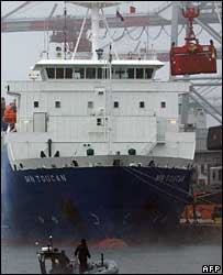 Ship being unloaded