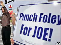 Joe Negron by campaign placard in Florida (Foley's name is still on the ballot(