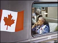 A Canadian woman on board the war bride train