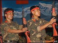 Nepal Maoist rebel army members (file: 4 September 2006)